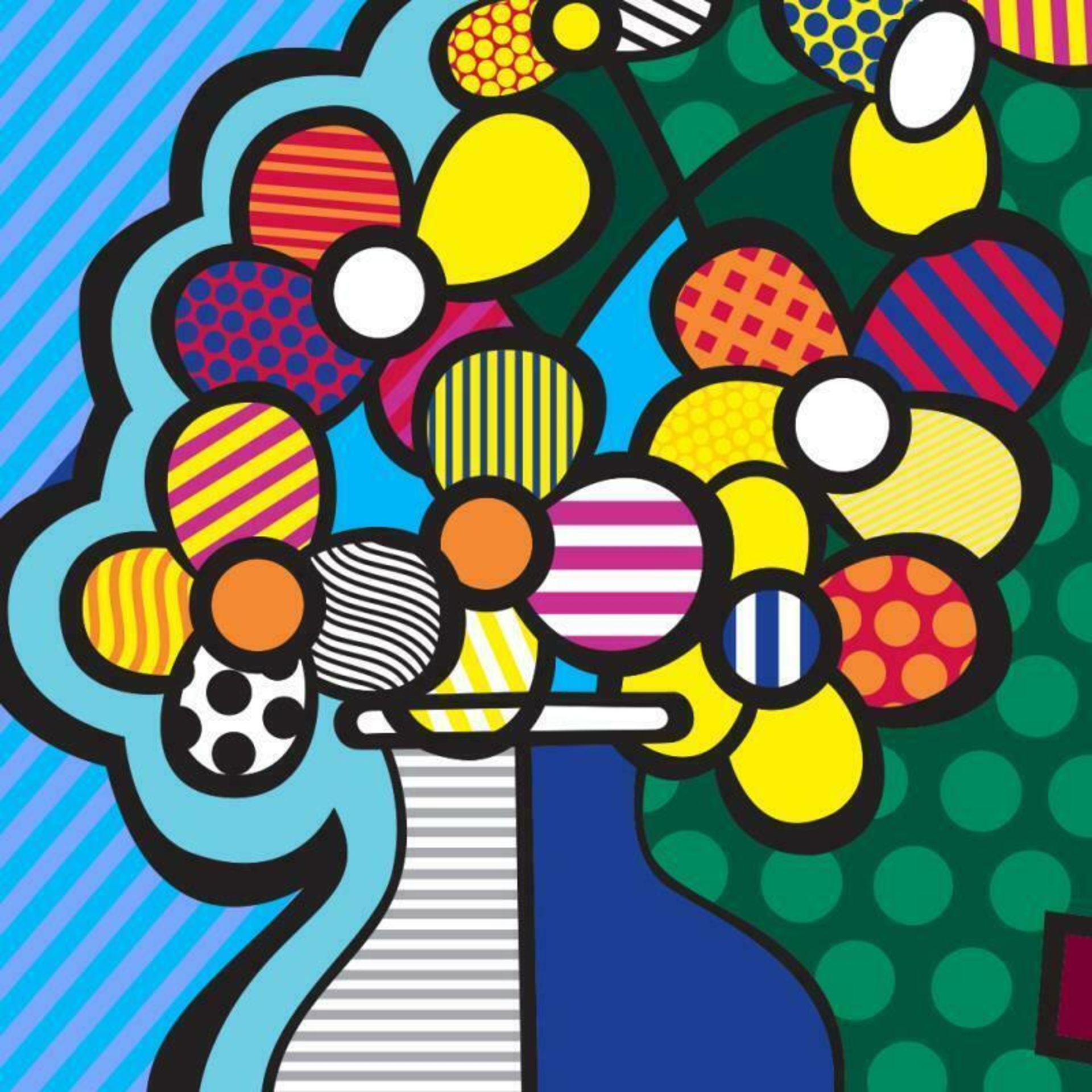 "Romero Britto ""New Flower"" Hand Signed Giclee on Canvas; Authenticated - Image 2 of 2"