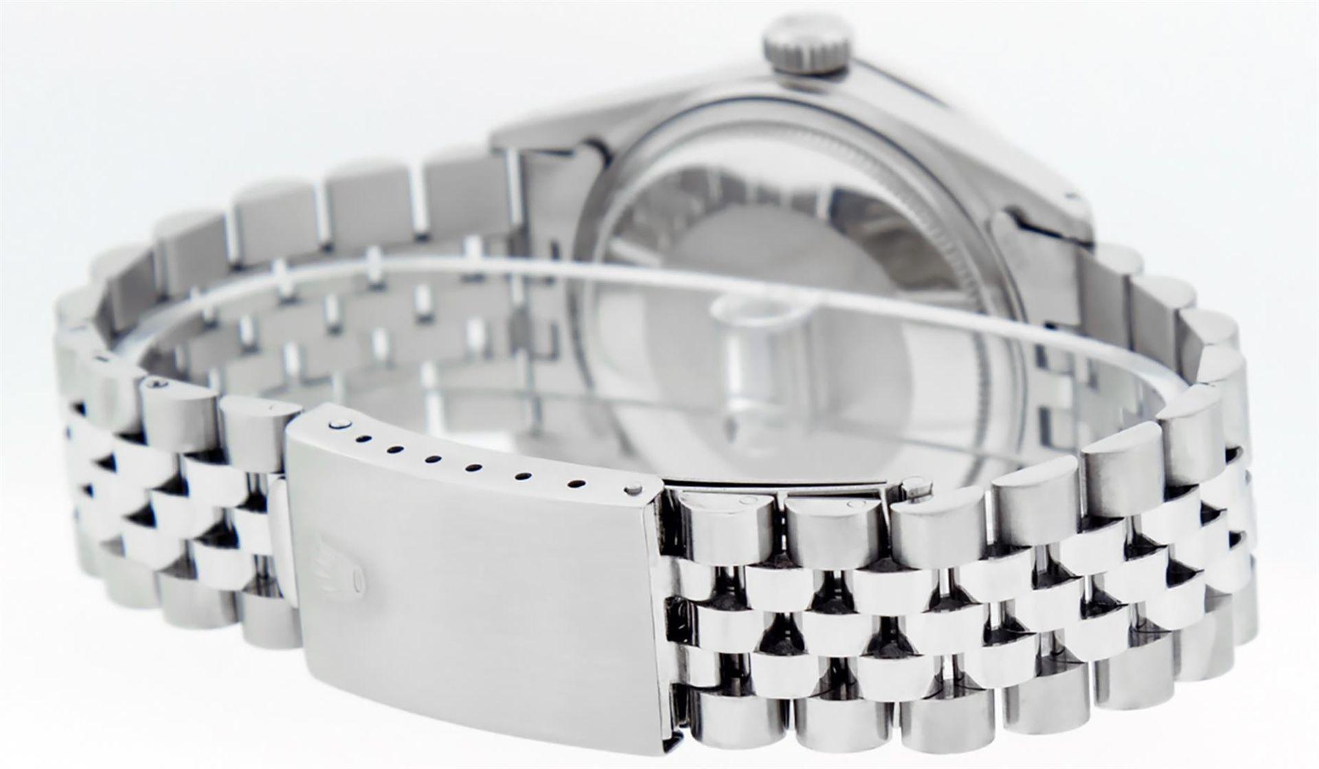 Rolex Mens Stainless Black Diamond 36MM Datejust Wristwatch - Image 5 of 9