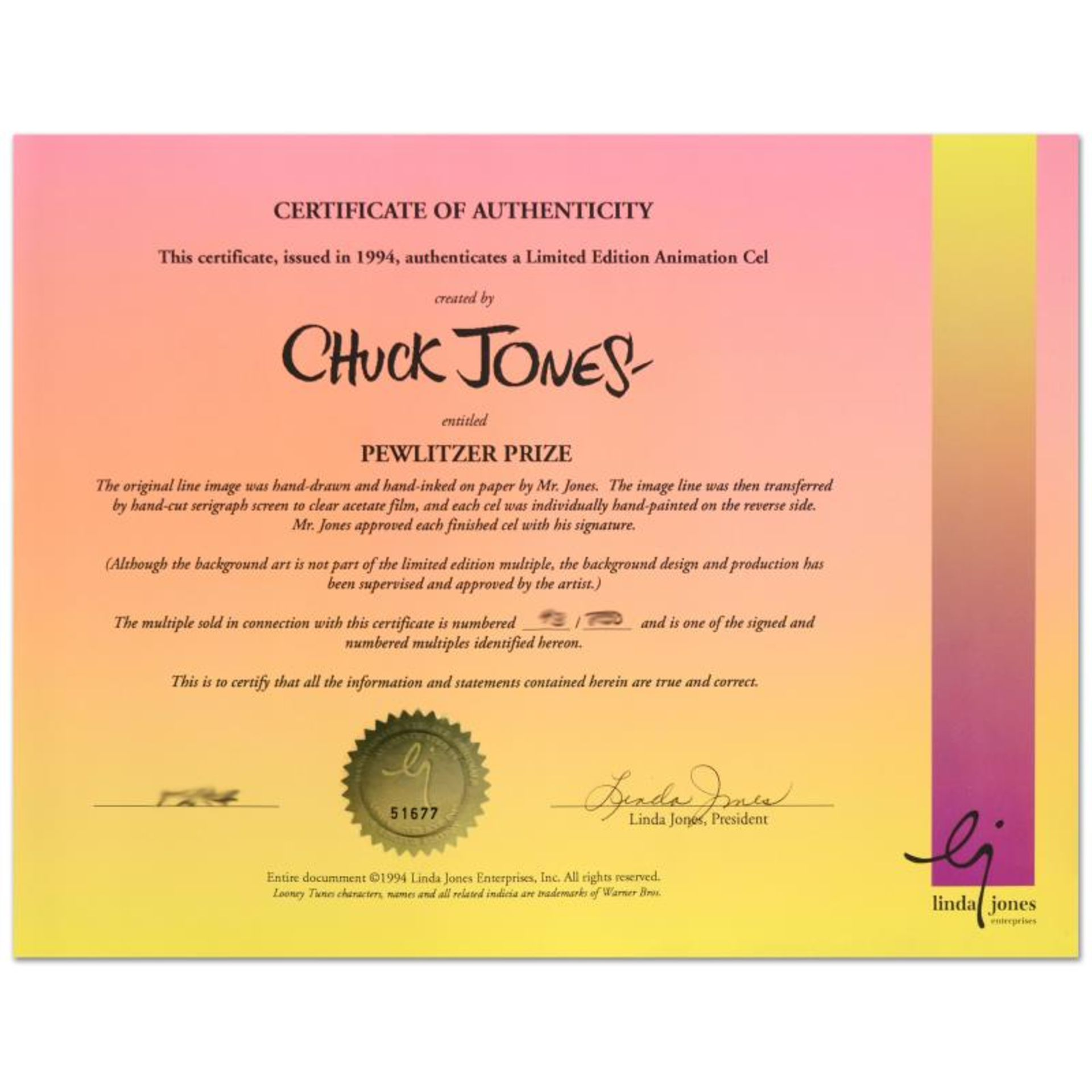 """""""Pewlitzer Prize"""" by Chuck Jones (1912-2002). Limited Edition Animation Cel with - Image 3 of 3"""