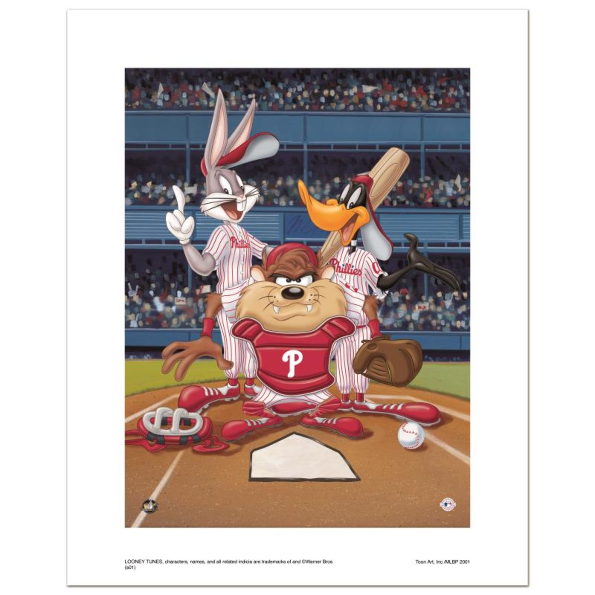 """""""At the Plate (Phillies)"""" Numbered Limited Edition Giclee from Warner Bros. with"""
