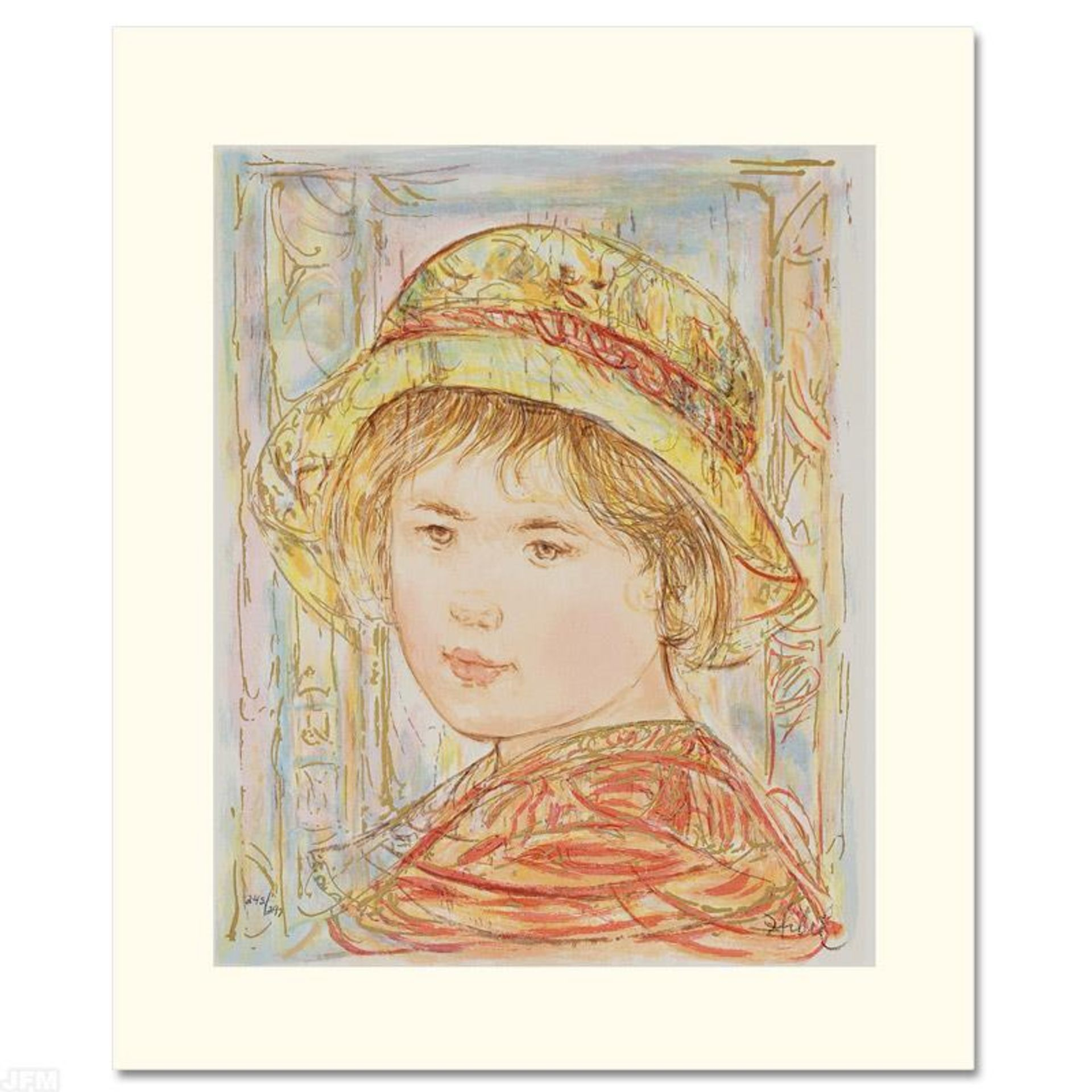 """""""Lemual"""" Limited Edition Serigraph by Edna Hibel (1917-2014), Numbered and Hand"""