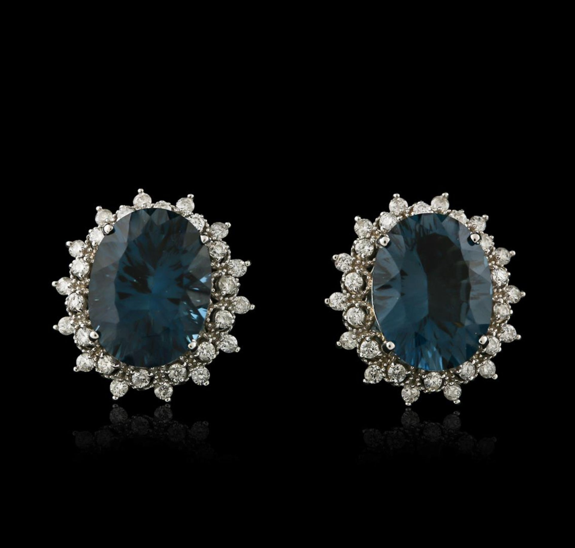 14KT White Gold 17.00 ctw Blue Topaz and Diamond Earrings - Image 2 of 3