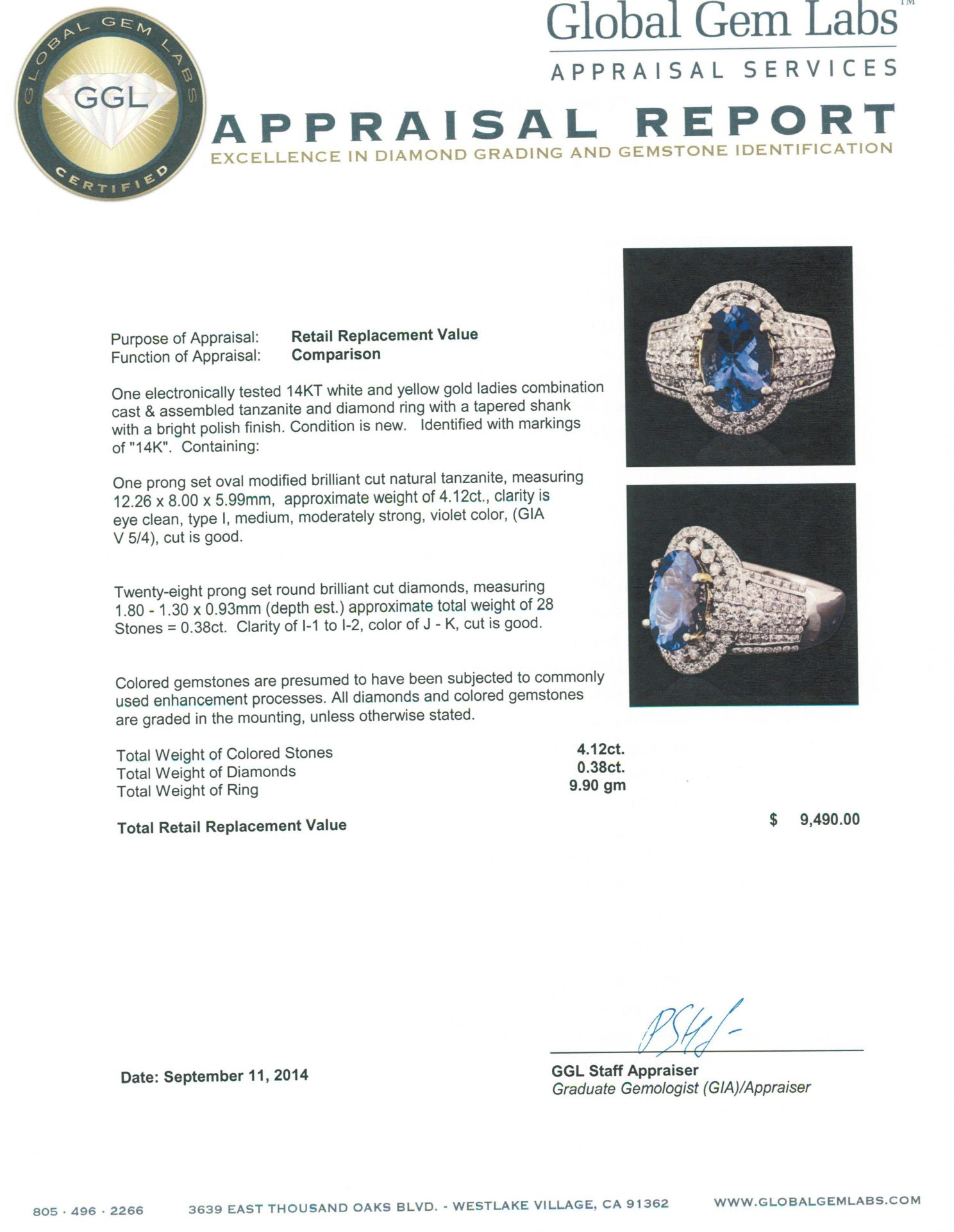 14KT Two-Tone Gold 4.12 ctw Tanzanite and Diamond Ring - Image 5 of 5