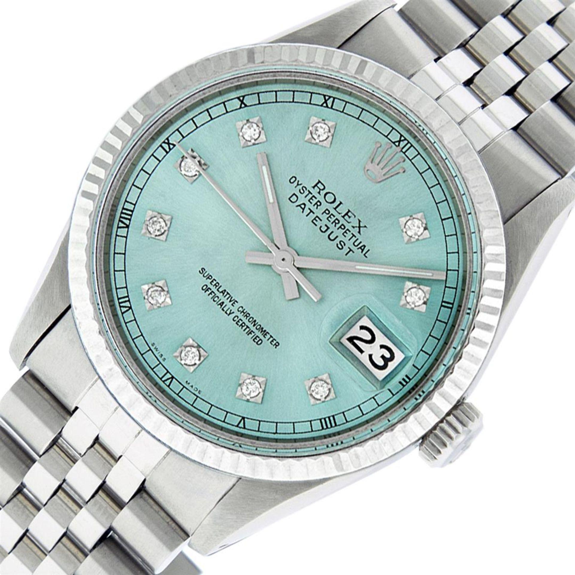 Rolex Mens Stainless Steel Ice Blue Diamond Datejust Wristwatch - Image 3 of 9