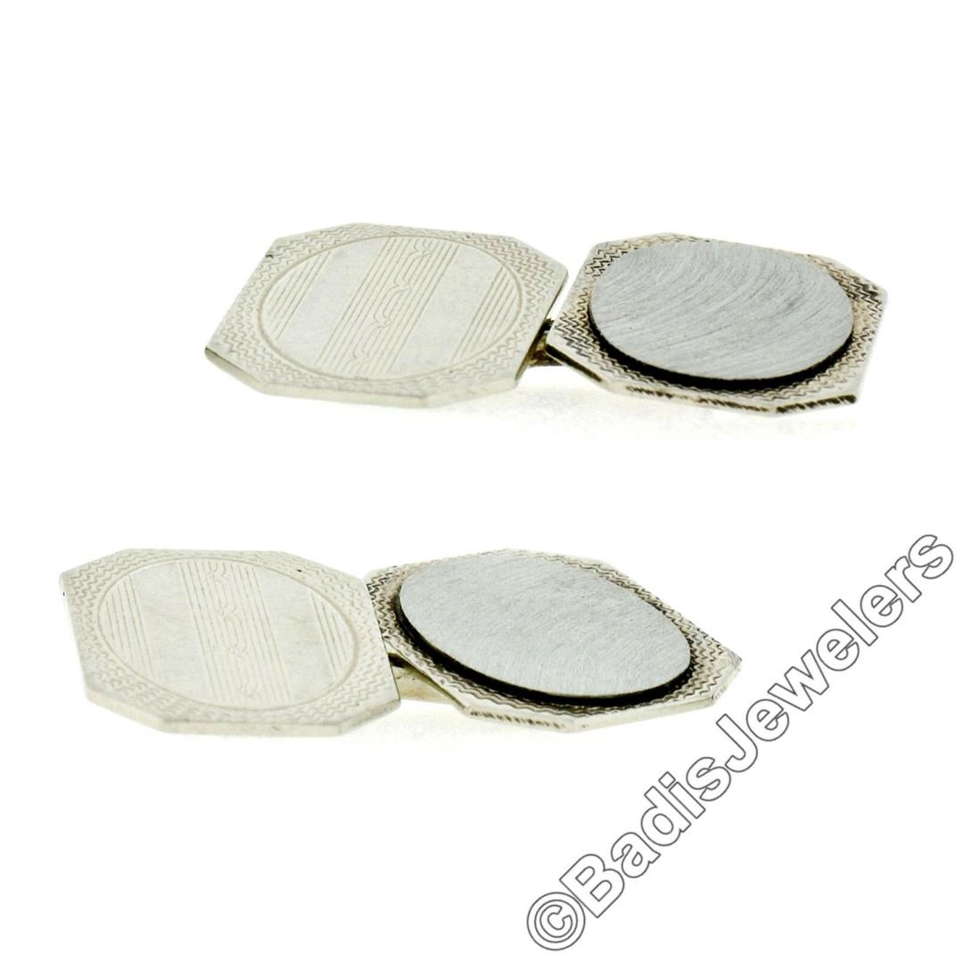 Antique Art Deco 14kt White Gold Etched Dual Panel Cuff Links - Image 3 of 5