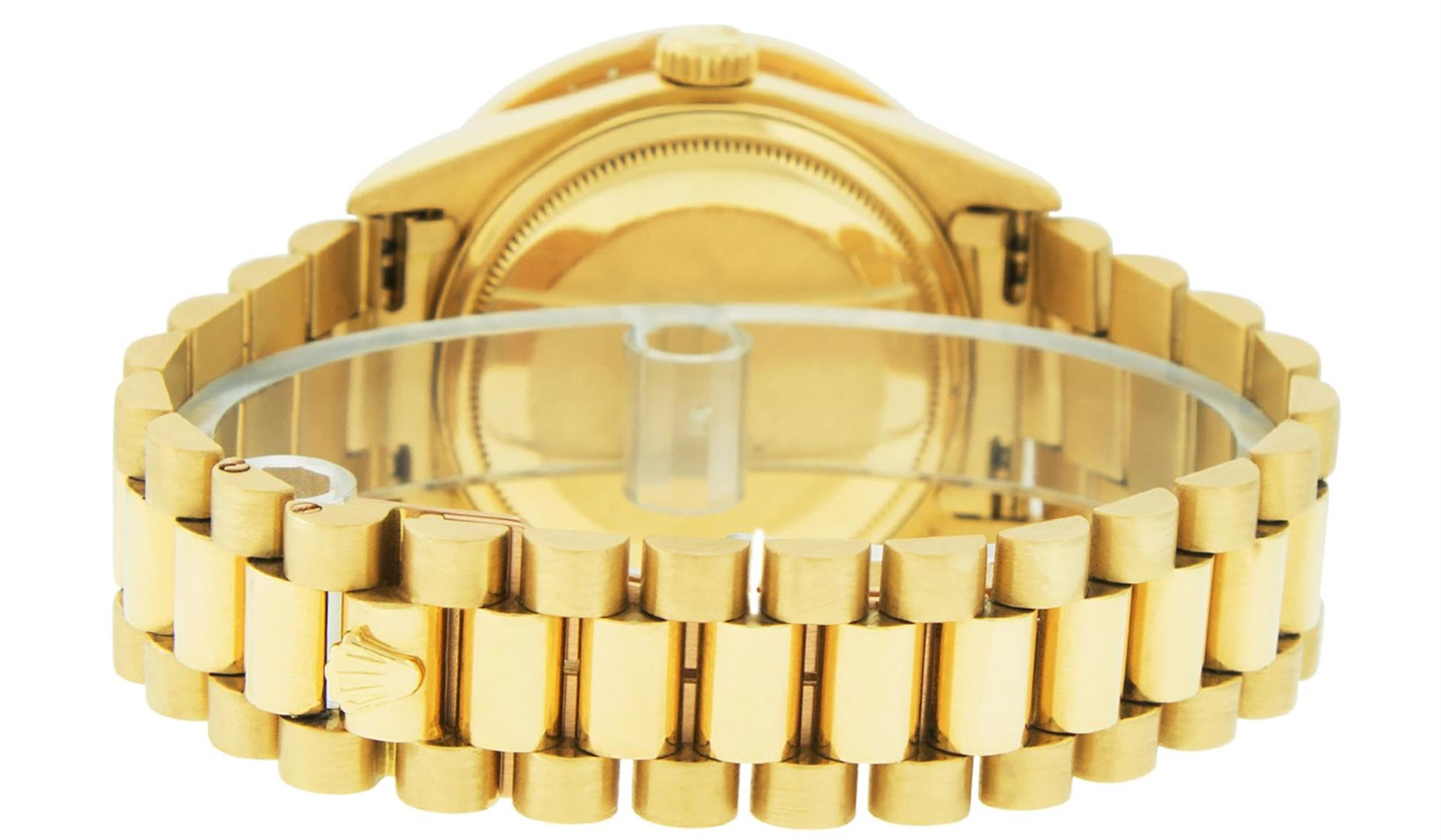 Rolex Mens 18K Yellow Gold Black Diamond 2.5 ctw Quickset President Wristwatch W - Image 4 of 6