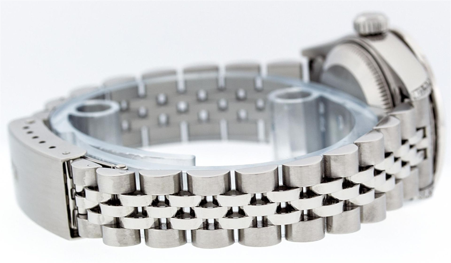 Rolex Ladies Stainless Steel Quickset Pink String Diamond Lugs Datejust Wristwat - Image 8 of 9