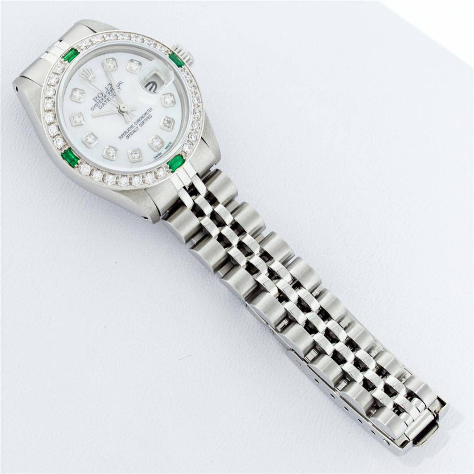Rolex Ladies Stainless Steel Mother Of Pearl Diamond 26MM Datejust Wristwatch - Image 5 of 9