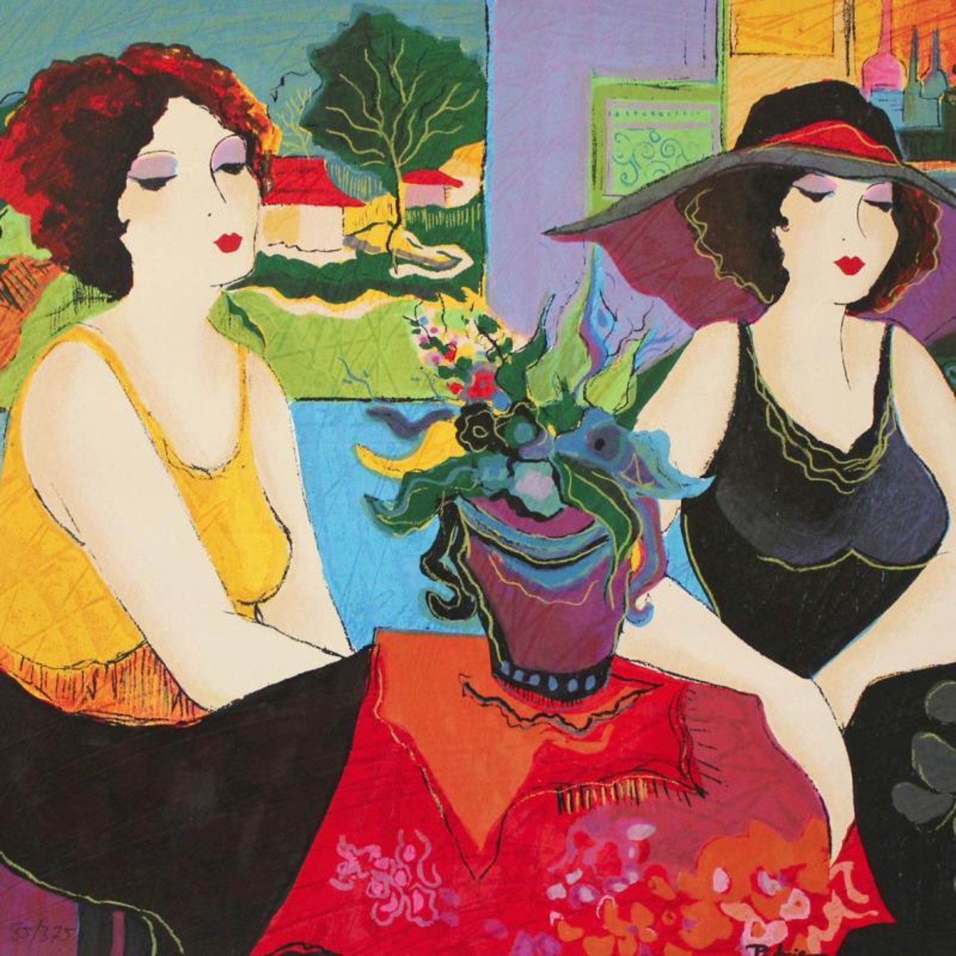 """Patricia Govezensky, """"Esco Bar"""" Hand Signed Limited Edition Serigraph on Canvas - Image 2 of 2"""