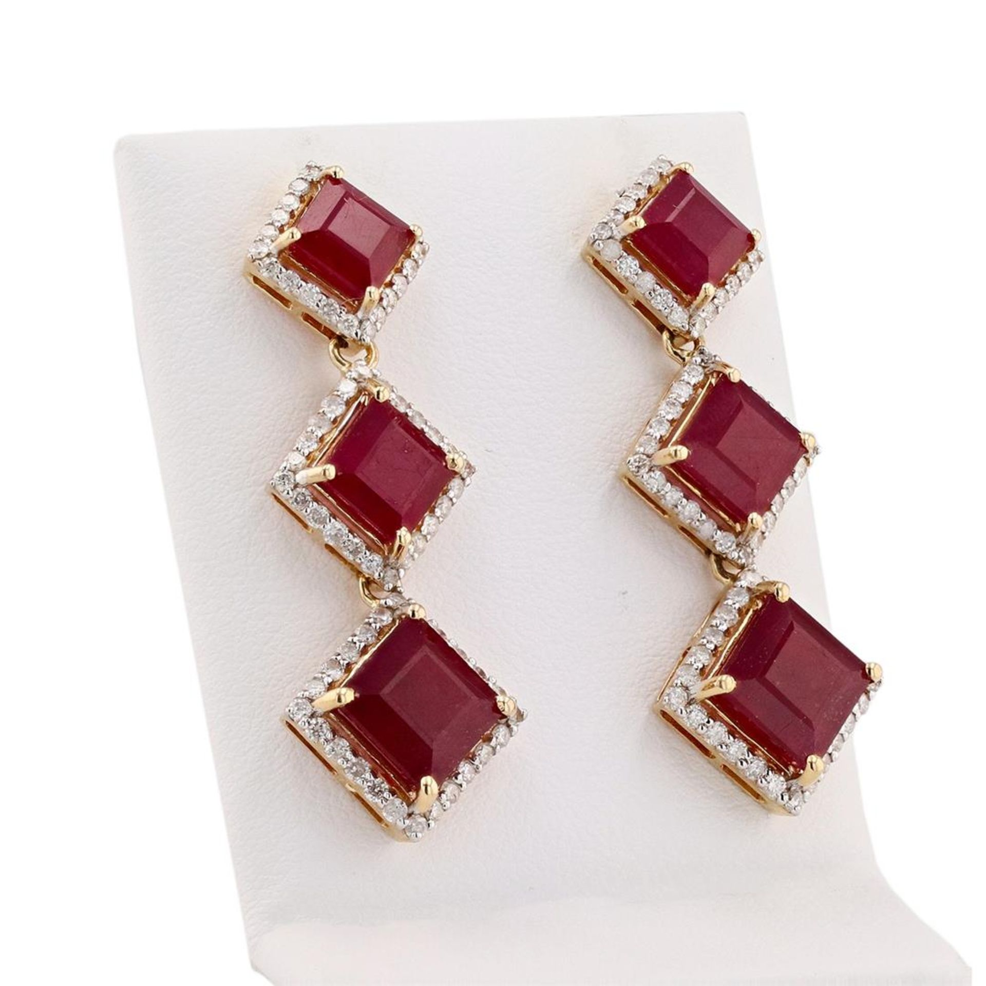 16.77 ctw Ruby and 1.41 ctw Diamond 14K Yellow Gold Earrings - Image 2 of 4