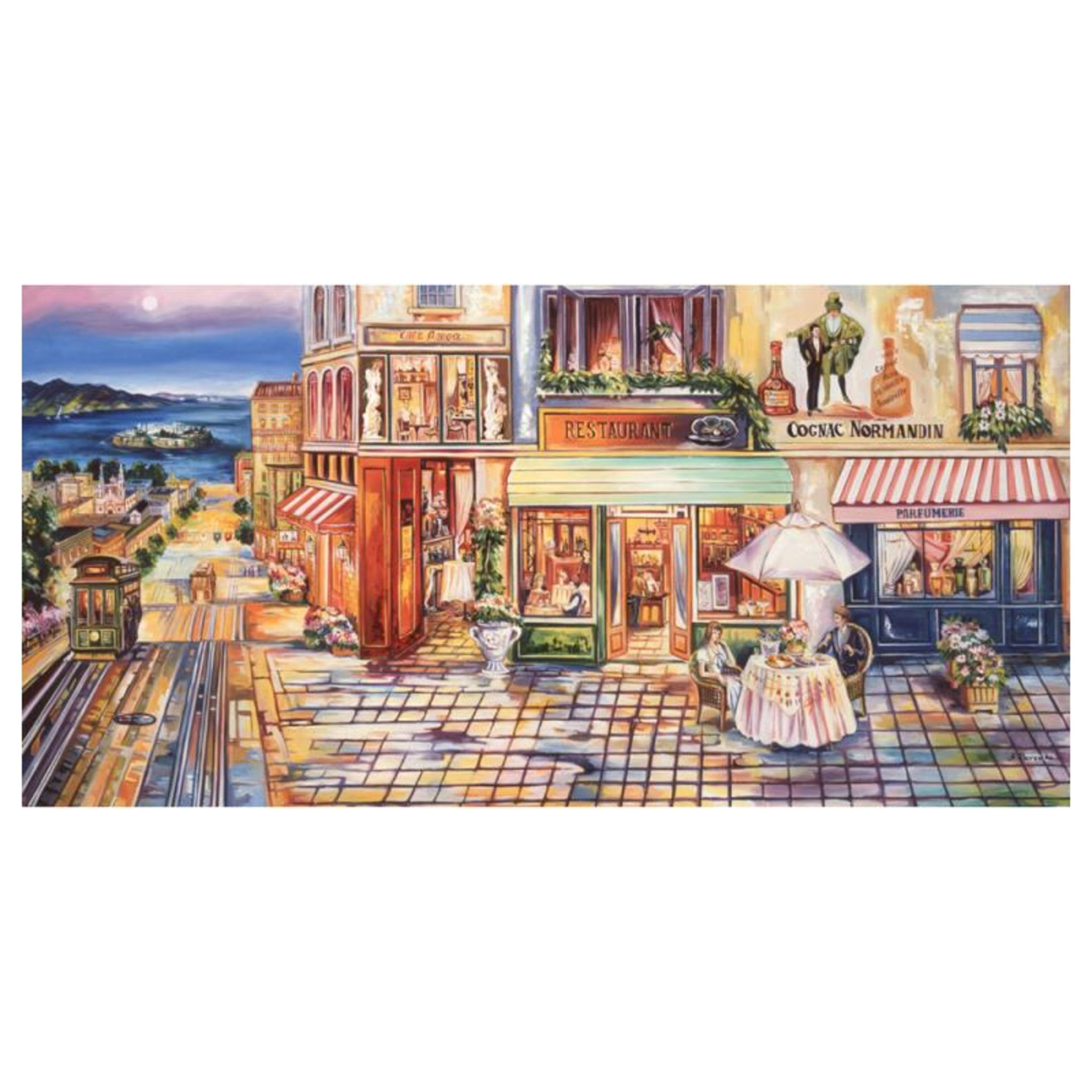 """Alexander Borewko, """"Pedestrian Mall"""" Hand Signed Limited Edition Giclee on Canva"""