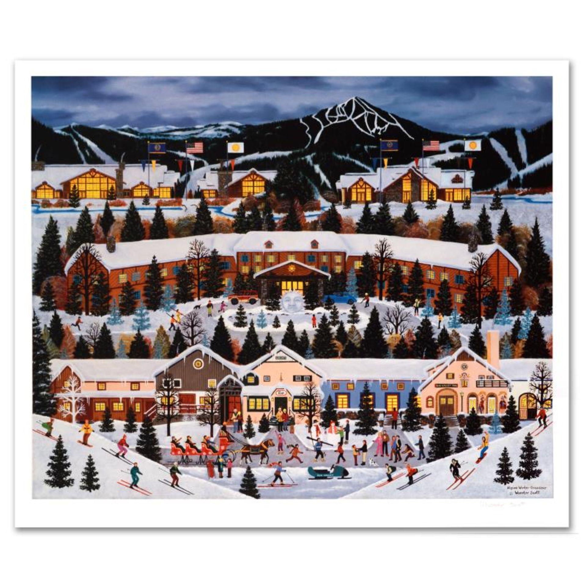 "Jane Wooster Scott, ""Alpine Winter Grandeur"" Hand Signed Limited Edition Lithogr"
