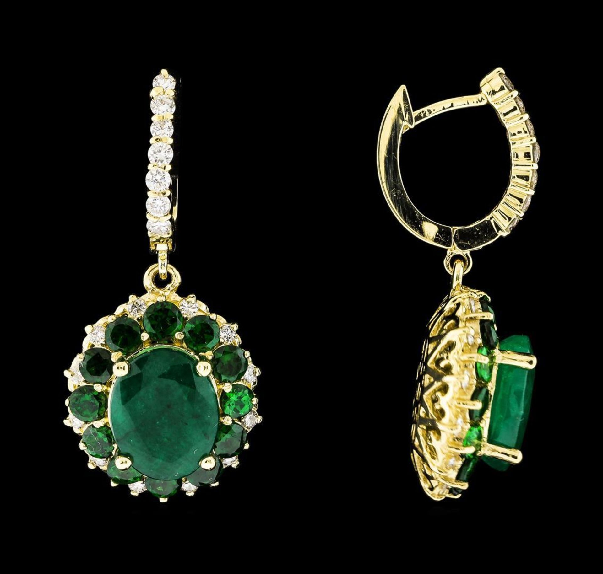 9.71 ctw Emerald and Diamond Earrings - 14KT Yellow Gold - Image 2 of 4