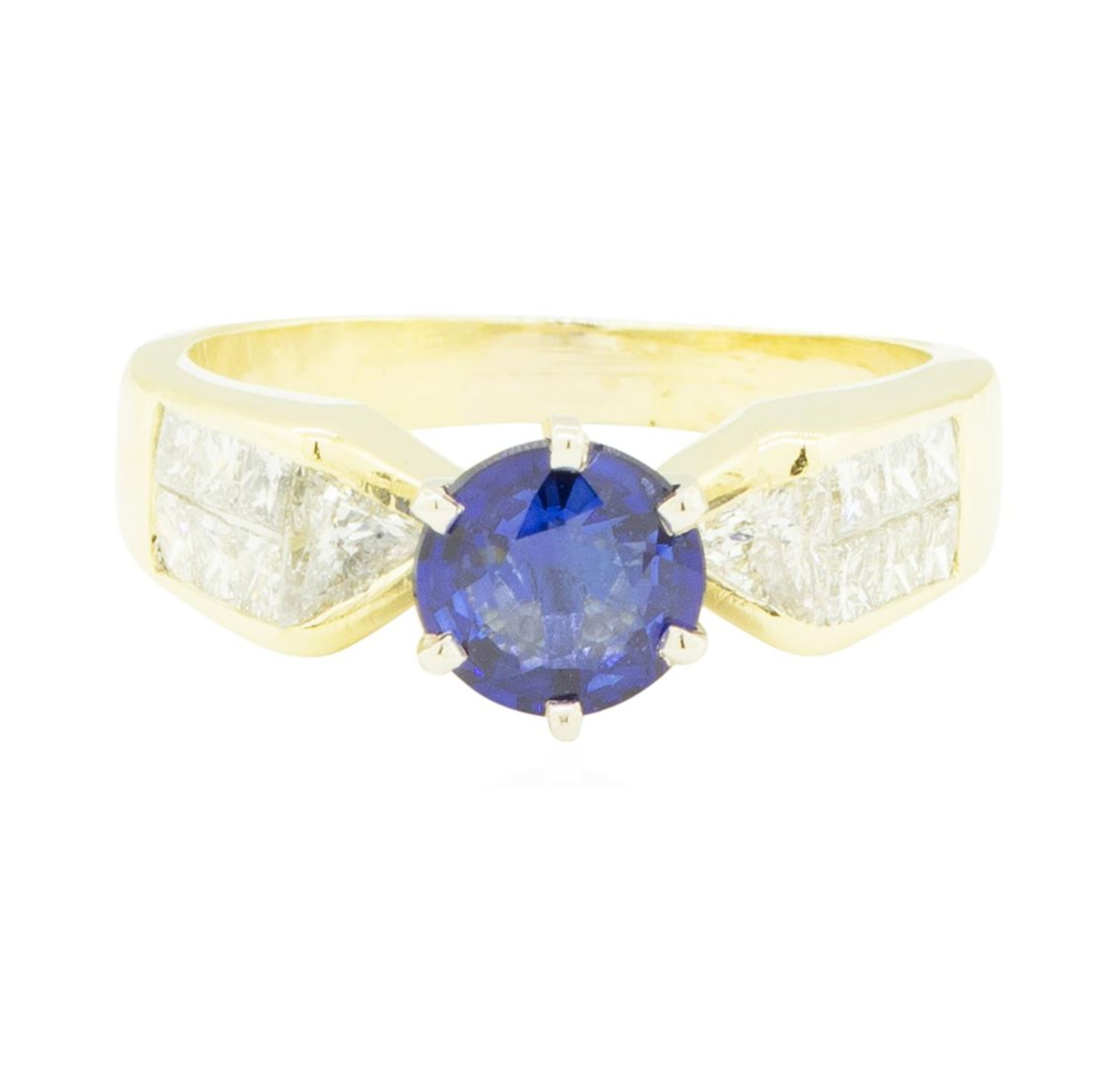 2.20 ctw Blue Sapphire and Diamond Ring - 18KT Yellow Gold - Image 2 of 4