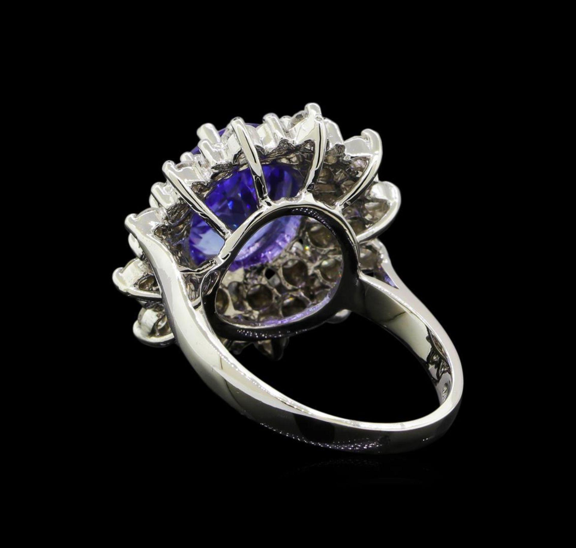 3.90 ctw Tanzanite and Diamond Ring - 14KT White Gold - Image 3 of 5