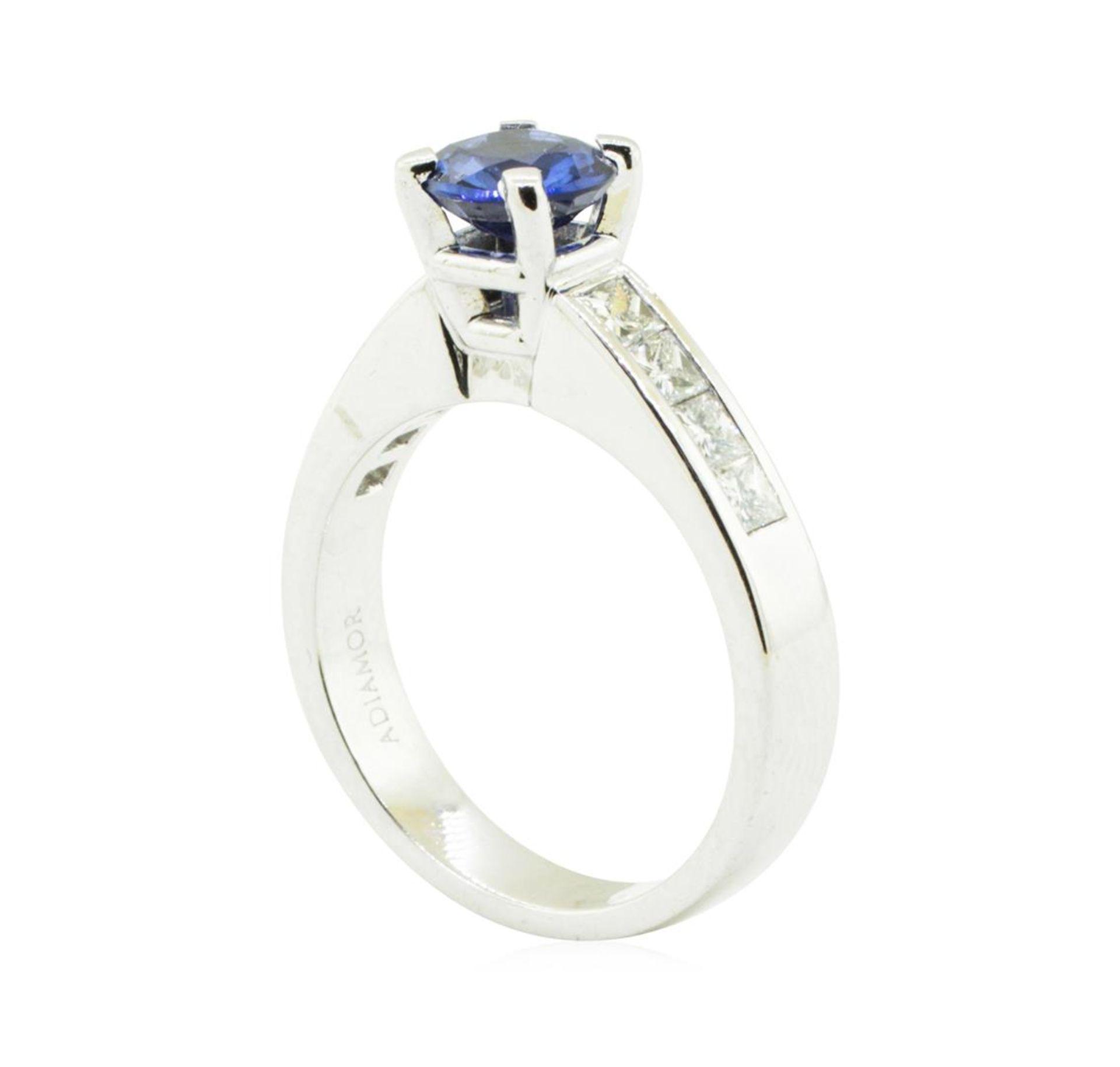 2.01 ctw Round Mixed Blue Sapphire And Diamond Ring - Platinum - Image 4 of 5