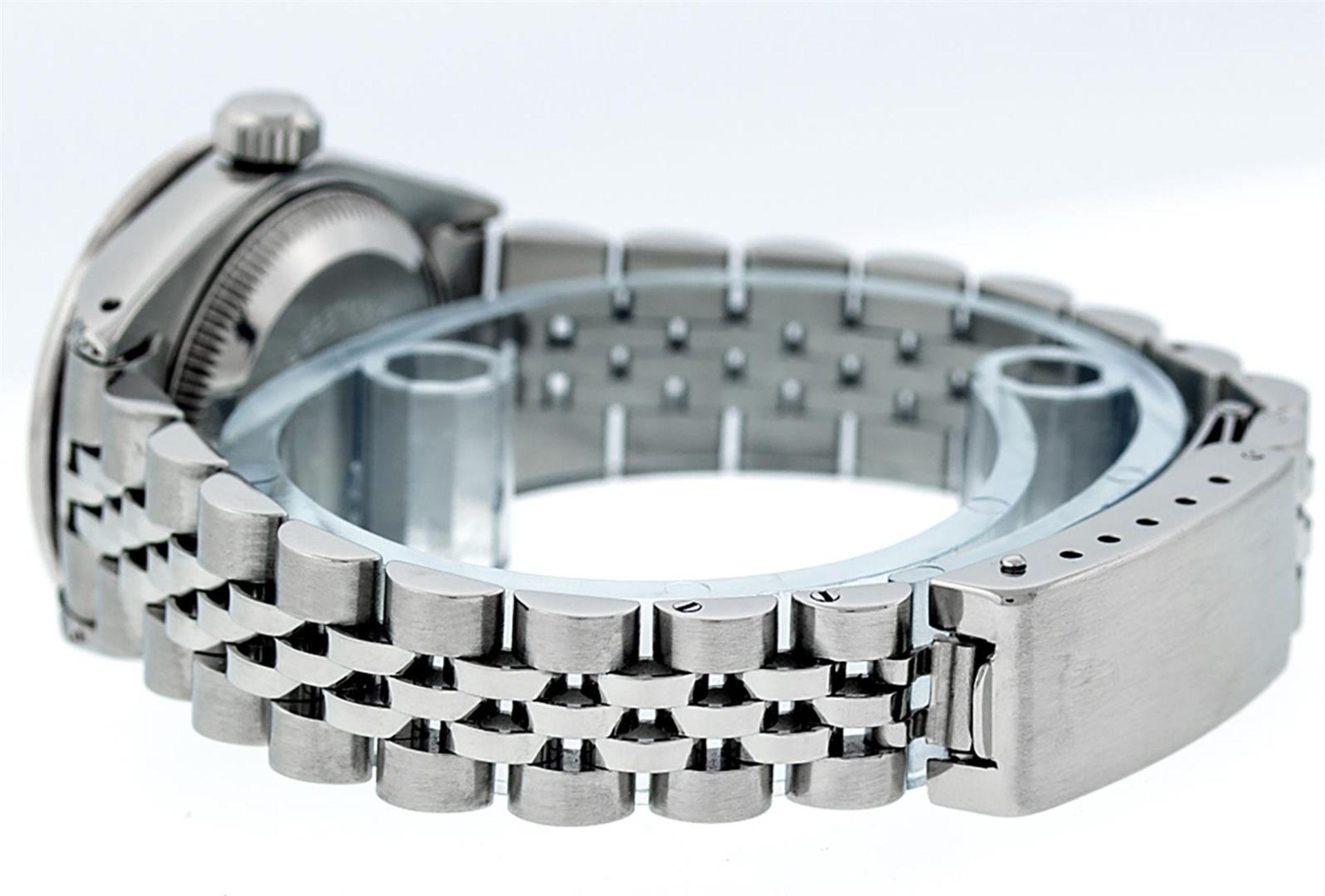 Rolex Ladies Stainless Steel 26MM Black String Diamond Lugs Datejust Wristwatch - Image 9 of 9