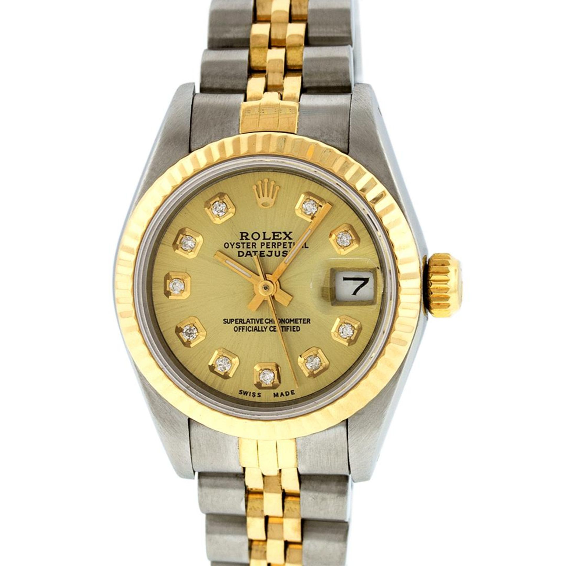 Rolex Ladies 2 Tone Champagne Diamond 26MM Datejust Wristwatch
