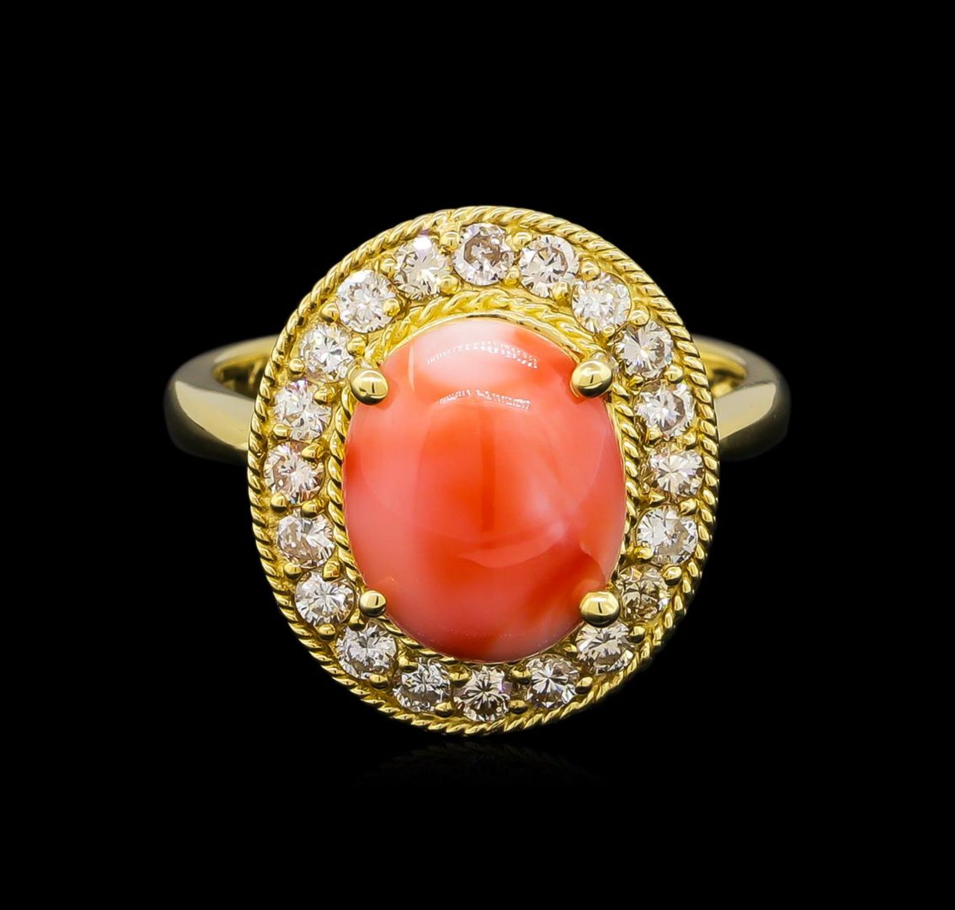 14KT Yellow Gold 3.16 ctw Coral and Diamond Ring - Image 2 of 5
