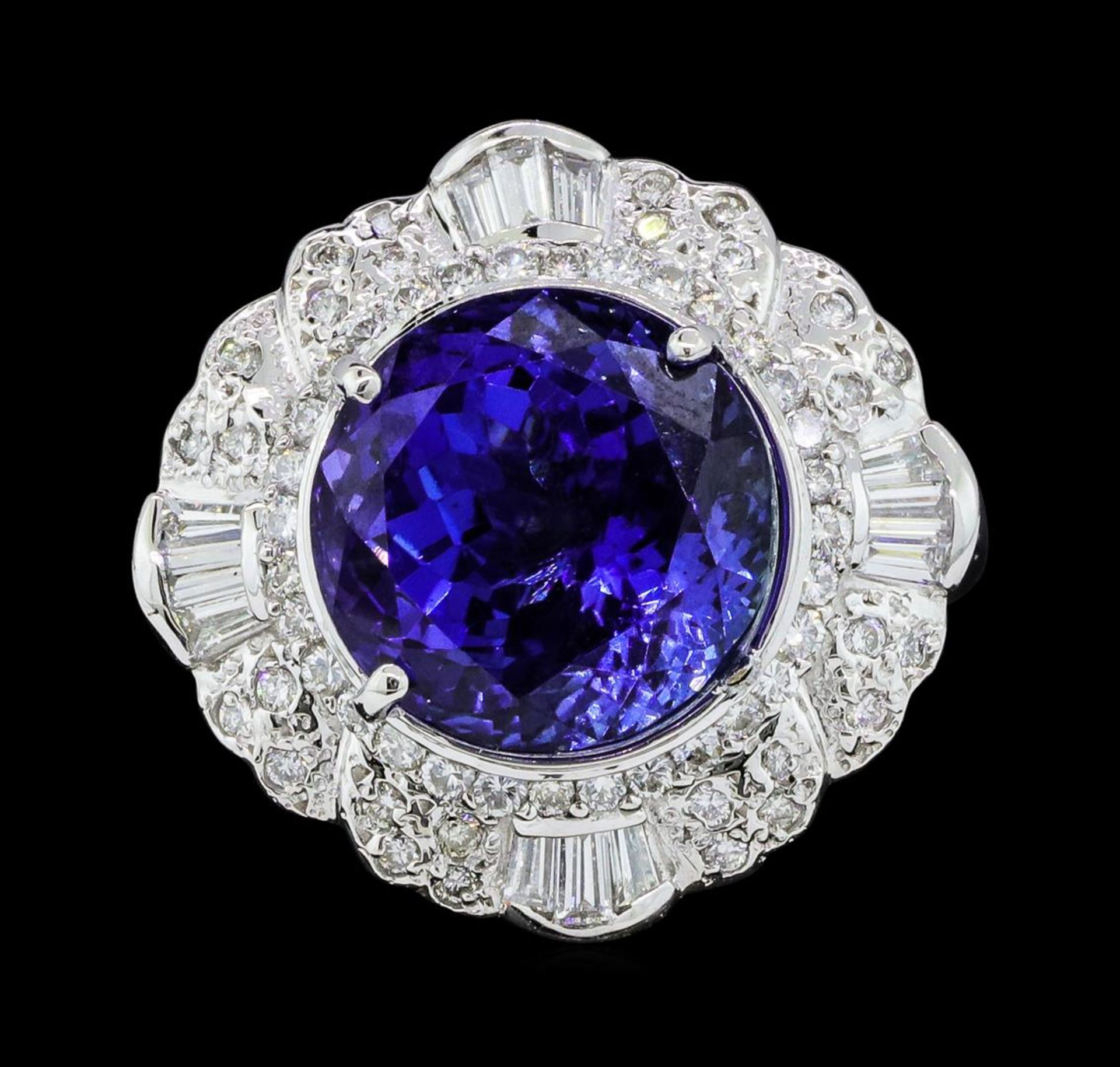 14.11 ctw Round Brilliant Tanzanite And Baguette Cut (Tapered) Diamond Ring - 18 - Image 2 of 5