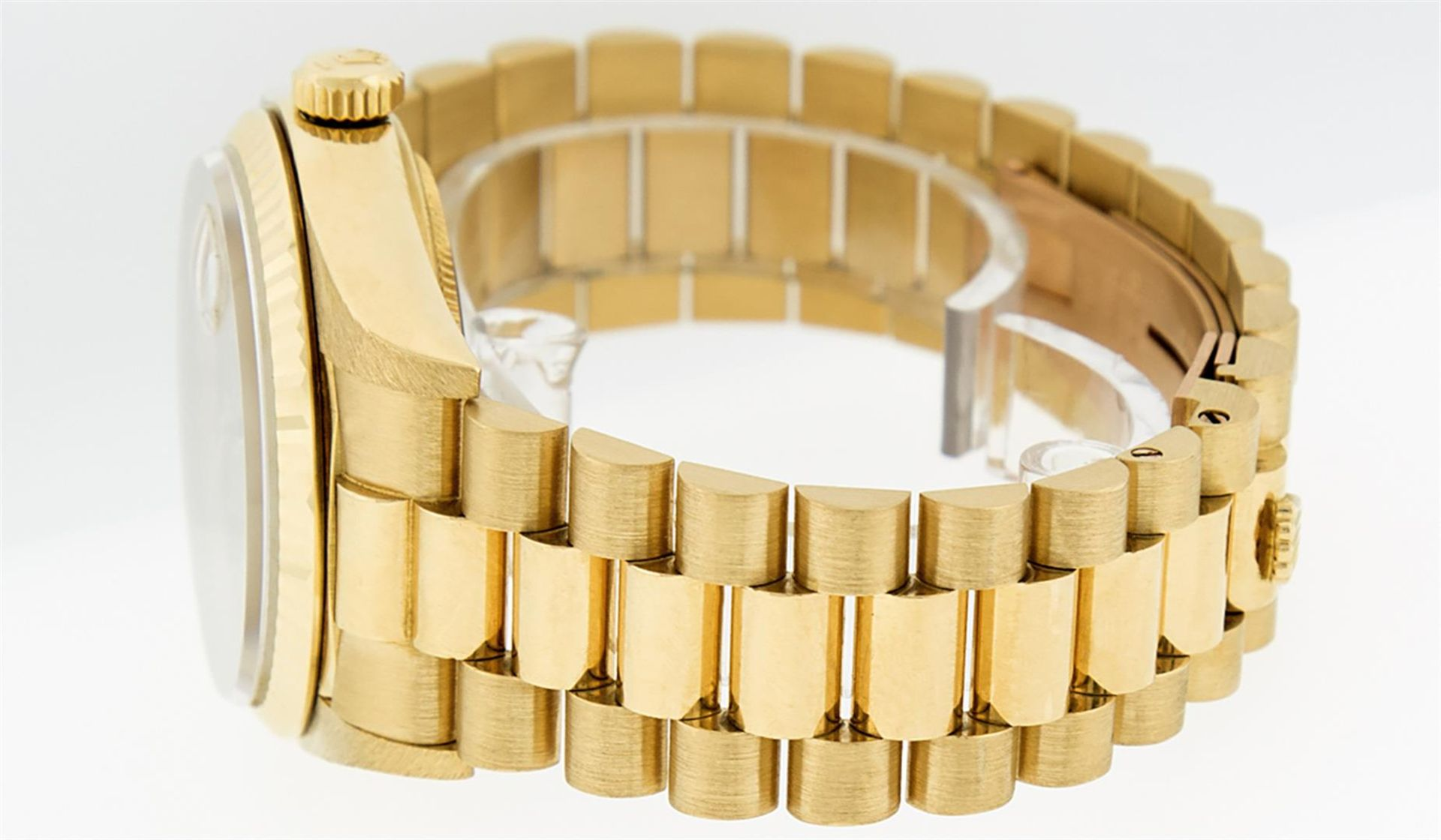 Rolex Mens 18K Yellow Gold Blue Vignette Diamond Quickset President Wristwatch W - Image 9 of 9