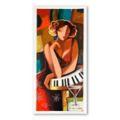 """Michael Kerzner, """"The Pianist"""" Hand Signed Limited Edition Serigraph on Paper wi"""