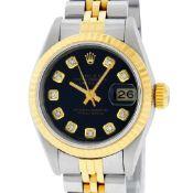 Rolex Ladies 2 Tone Black Diamond 26MM Datejust Wristwatch