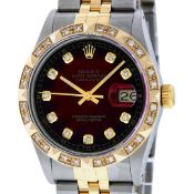 Rolex Mens 2 Tone Red Vignette Pyramid Diamond 36MM Oyster Perpetual Datejust