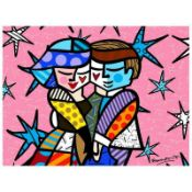 "Romero Britto ""Pretty In Pink Mini"" Hand Signed Giclee on Canvas; Authenticated"