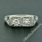 Vintage Platinum 0.52 ctw Dual Transitional Cut Diamond Hand Engraved Band Ring