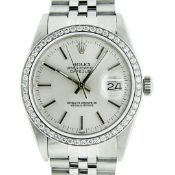 Rolex Mens Stainless Steel Silver Index 36MM Datejust Oyster Perpetual Wristwatc