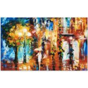 """Leonid Afremov (1955-2019) """"Streetside Expression"""" Limited Edition Giclee on Can"""