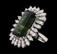 16.67 ctw Tourmaline and Diamond Ring - 14KT White Gold