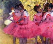 Edgar Degas - Dancers In Pink Between The Scenes