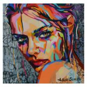 Asya Simon, Limited Edition on Canvas, Numbered and Hand Signed with Letter of A
