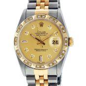Rolex Mens 2 Tone Champagne Diamond Pyramid Bezel Datejust Wristwatch