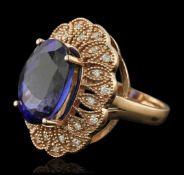 14KT Rose Gold 11.28 ctw Tanzanite and Diamond Ring