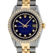 Rolex Mens 2 Tone Blue Vignette String Diamond Lugs Datejust Wristwatch