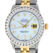 Rolex Mens 2 Tone MOP 3 ctw Channel Set Diamond Datejust 36MM Wristwatch