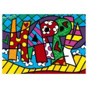 """Romero Britto """"Happy Mini Word"""" Hand Signed Giclee on Canvas; Authenticated"""