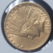 1910-D $10 Indian Head Gold Eagle Coin