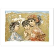"""""""Zalina with Aries and Ande"""" Limited Edition Lithograph by Edna Hibel (1917-2014"""