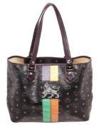 MCM Black Coated Canvas & Leather Lion Shopper Shoulder Bag