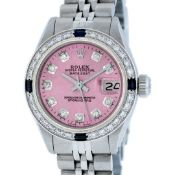 Rolex Ladies Stainless Steel Pink Diamond & Sapphire Oyster Perpetaul Datejust W