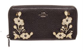 Coach Black Leather Floral Accordian Zippy Wallet
