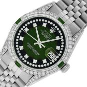Rolex Mens Stainless Steel Diamond Lugs Green Vignette & Emerald Datejust 36MM