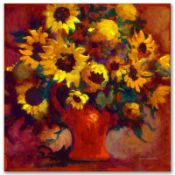 """""""Sunflowers"""" Limited Edition Giclee on Canvas by Simon Bull, Numbered and Signed"""
