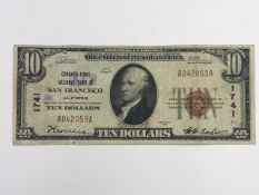 Lot (5) 1929 $10 San Francisco CA National Currency Notes - Charter 1741
