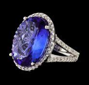 10.86 ctw Tanzanite and Diamond Ring - 14KT White Gold