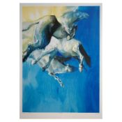 """Edwin Salomon, """"Wild Horses in Blue"""" Hand Signed Limited Edition Serigraph with"""